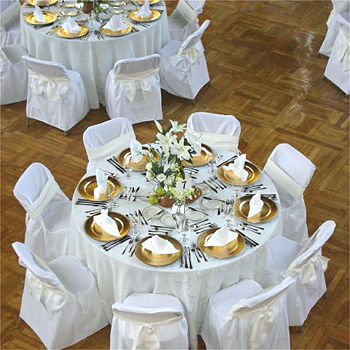 Image of a table with catered food on it.
