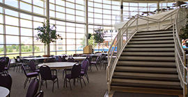 Image of a staircase in a cafeteria.