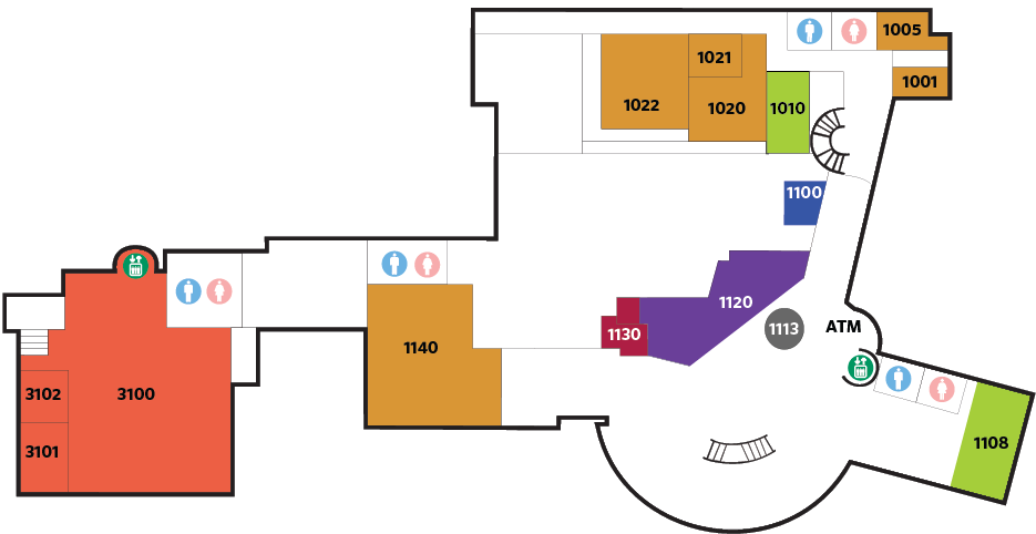 Lower Floor Building Map for Festival Conference and Student Center