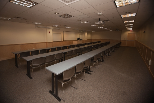 Photo of Conference Room 8 in classroom setup.