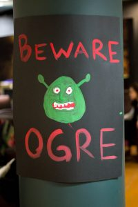 "Picture of poster with ""Beware Ogre"" text and drawing of Shrek's head"