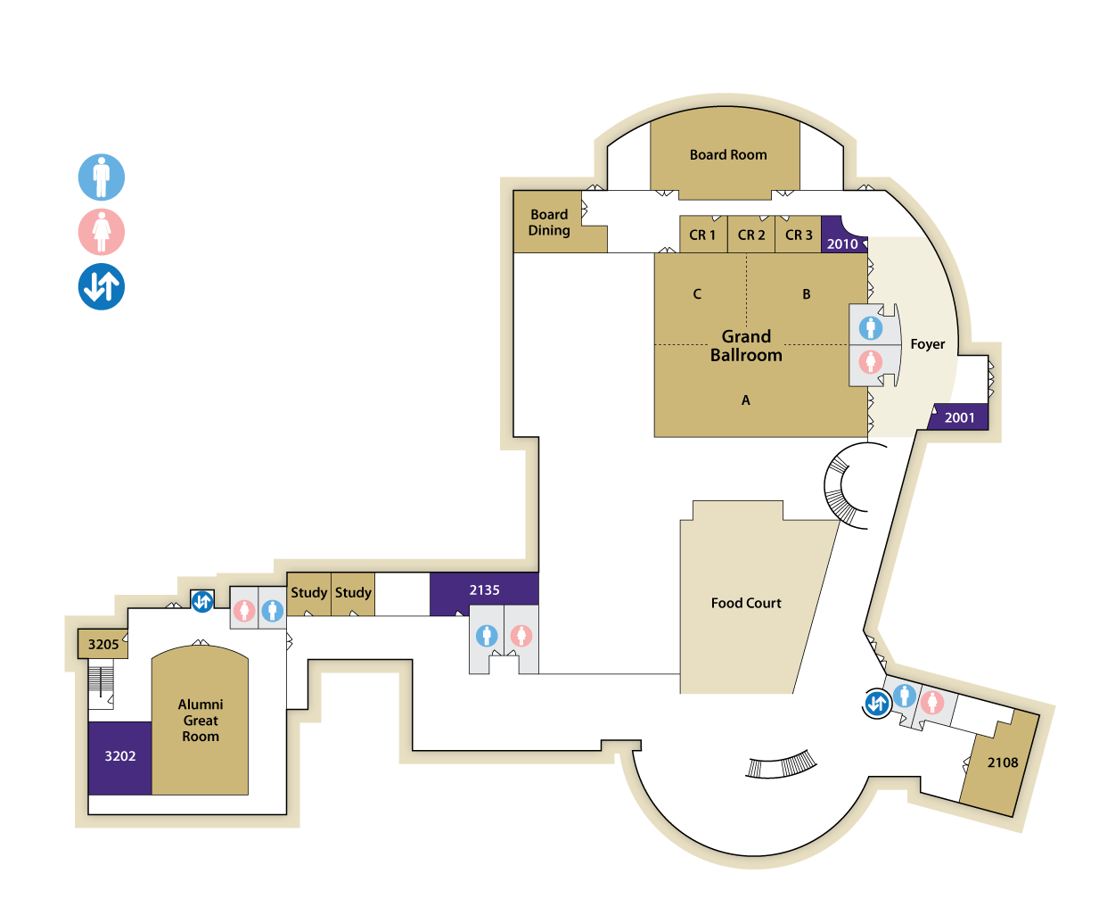 Upper Floor Building Map for Festival Conference and Student Center