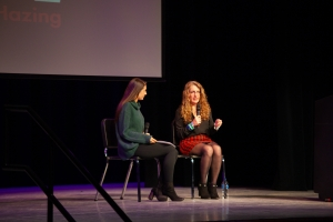 Image of Evelyn Piazza and Michaela Koep answering audience questions.