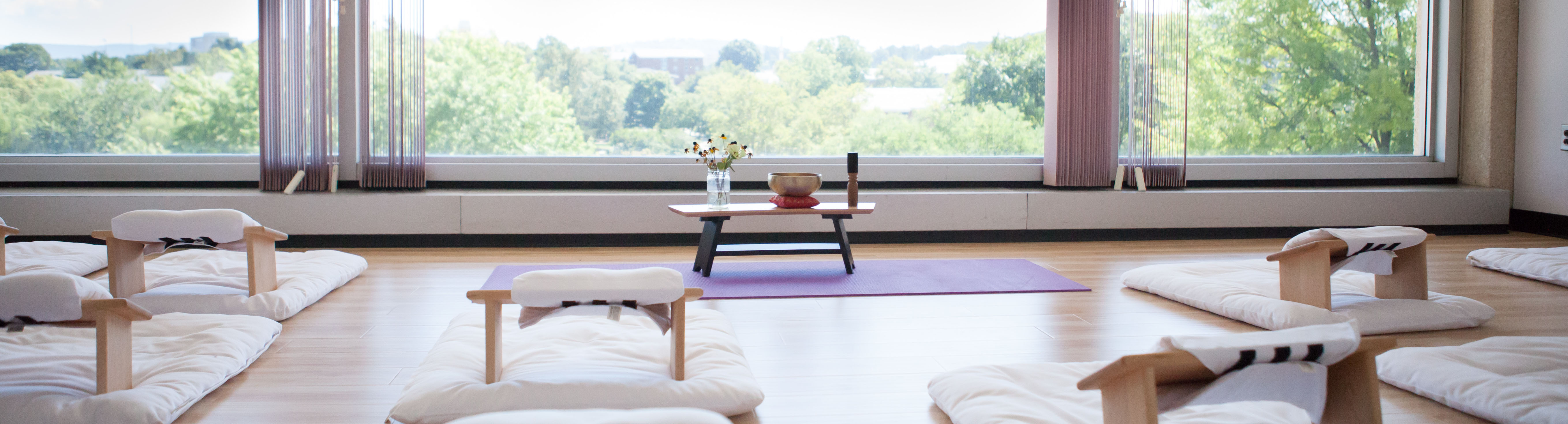 Meditation Room at JMU. Mats with headrests are lined up in front of a window.