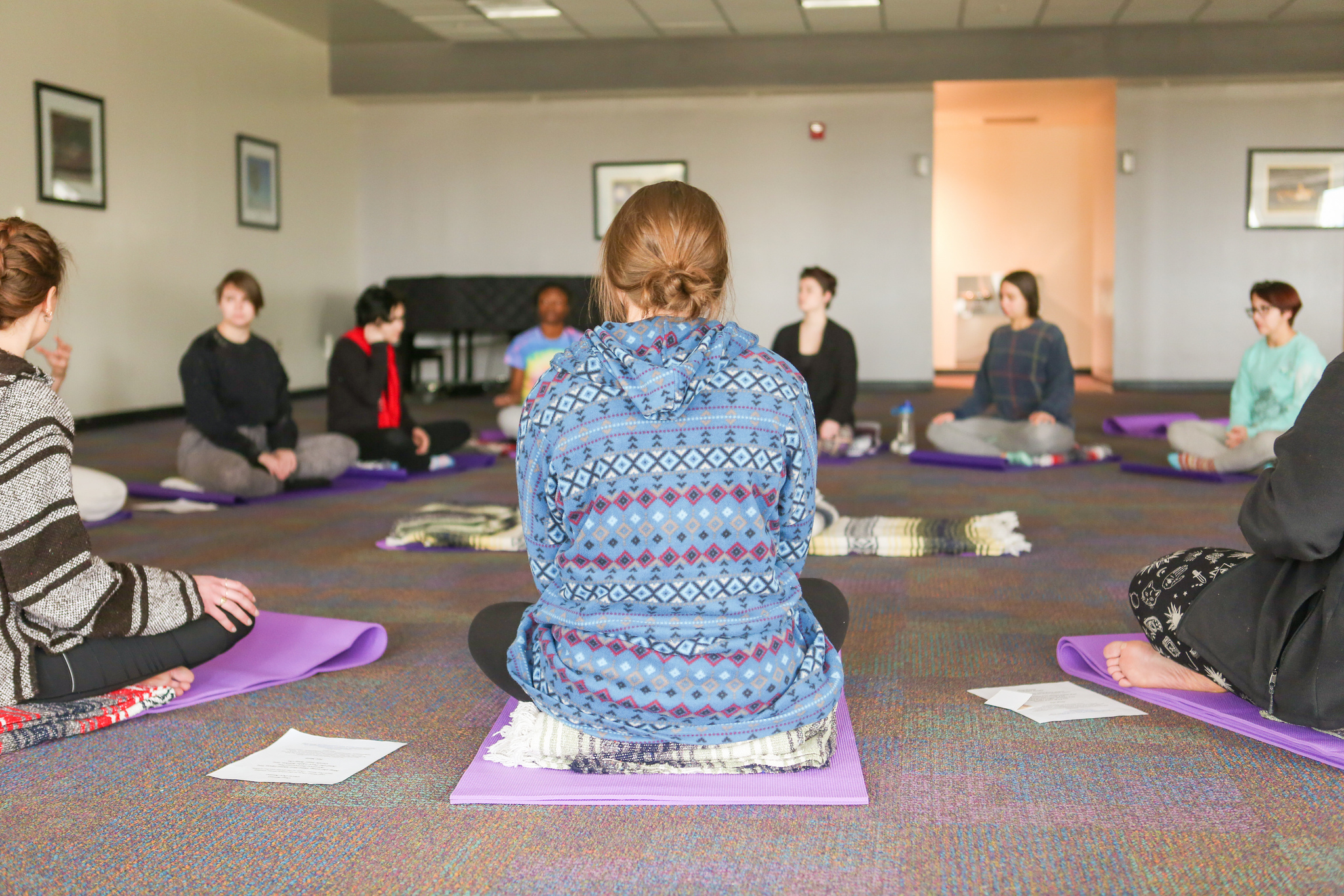 Image of JMU student partaking in the Mindfulness Experience Retreat.