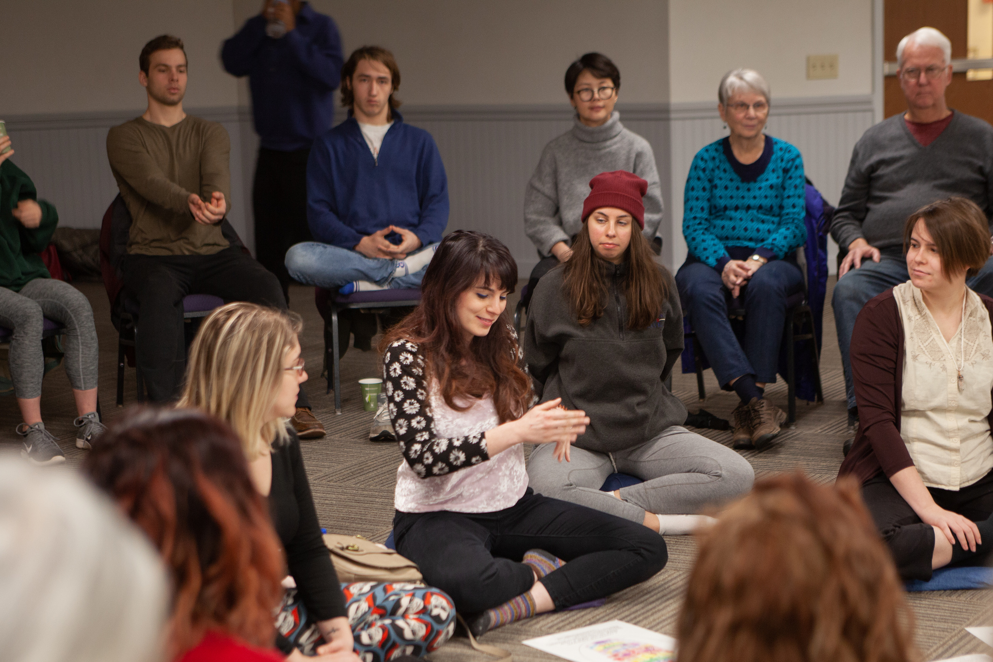 Image of JMU student demonstrating practices at the Mindfulness Experience Retreat.