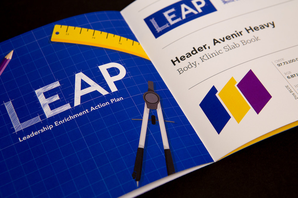 Image of the LEAP brand guide open on a black table.
