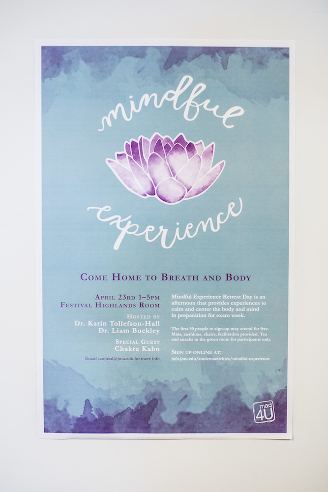 Image of a blue and purple Mindful Experience poster.