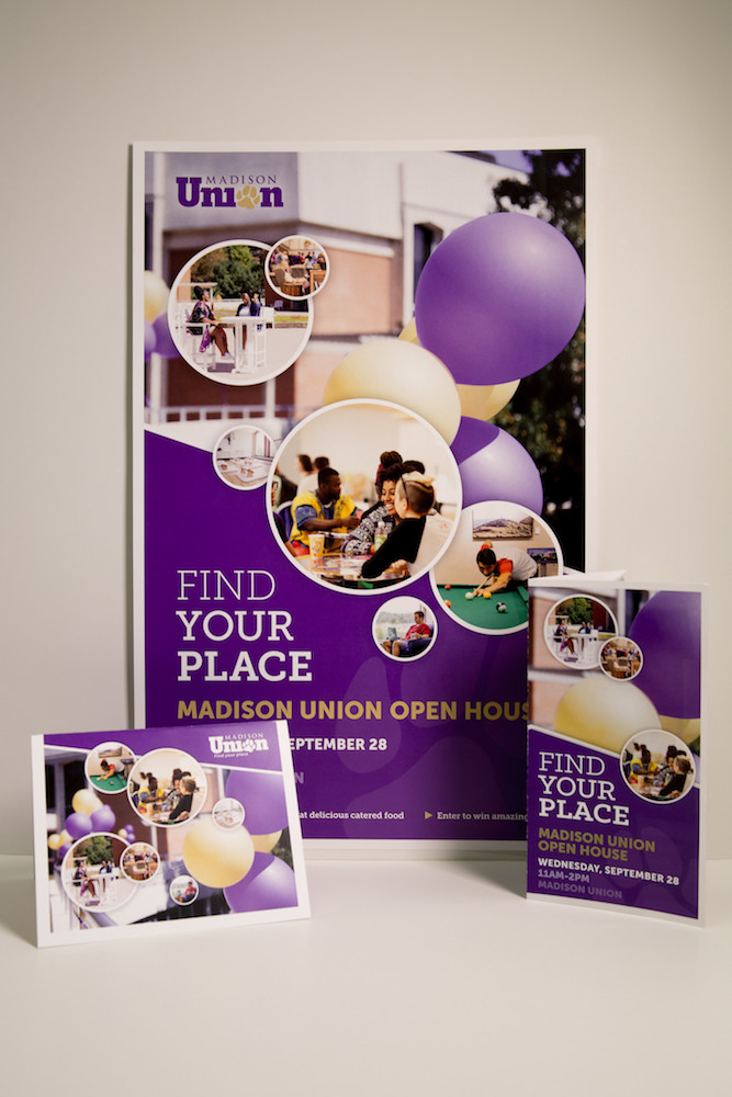 Image of a brochure, poster, and table tent for the Madison Union Open House event.