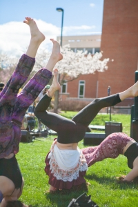 Image of people doing yoga outside