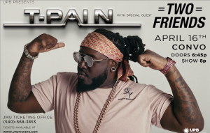 Image of T-Pain dancing with his hands above his head.