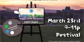 Image of an easel with text that says March 23rd 9-11pm Festival