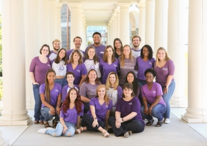 Image of the full SAI staff in the Madison Hall columns.