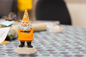 Image of the TAD Mascot Gnorman, a Gnome, on a table