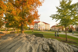 Image of the JMU quad and Wilson Hall in the fall