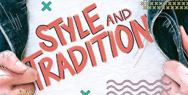 Image of graphic of style and tradition contest, featuring a person holding the opening of their denim jacket, layered over a style and tradition t-shirt