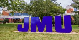 Image of the JMU Block Letters in front of Madison Union