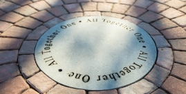 Image of a memorial circle on the Quad
