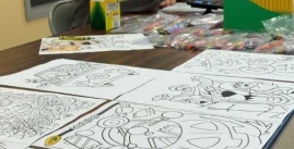 Image of coloring sheets on table