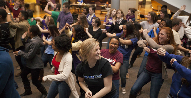 Image of Students dancing during late night breakfast