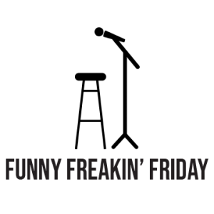 """Black icon of a microphone on a stand and a stool to the left of it, below is written """"funny freakin' friday"""""""