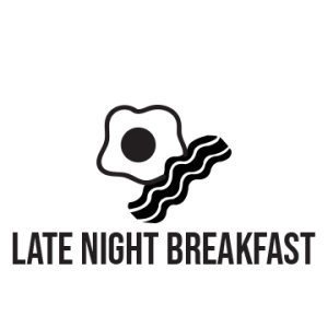 "Black and white icon of one egg and one strip of bacon, with the text ""late night breakfast"" written underneath"