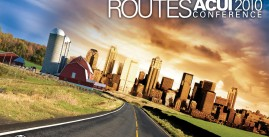 Image of a promotional image for Alternate Routes ACUI Conference, featuring a street heading toward a barn and city-scape in the background.