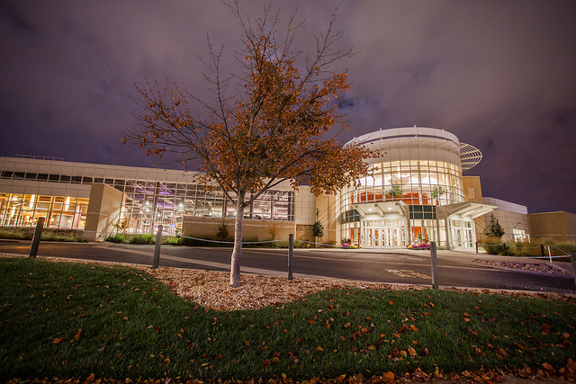 Photo of Festival Conference and Student Center at night.