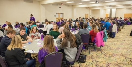 Image of a large group of students meeting for a previous leadership conference.