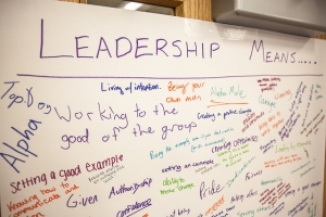 A whiteboard with students' views of leadership from a previous conference.