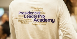 Image of the back of a shirt reading, 'Presidential Leadership Academy'